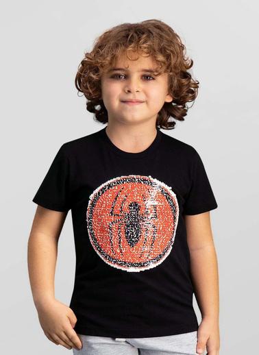 Spider-Man Spider Man Lisanslı Mavi Erkek Çocuk T-Shirt Siyah